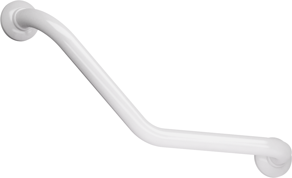 135° angled grab bar, 265 x 265 mm, White Epoxy-coated Aluminium , tube Ø 30 mm