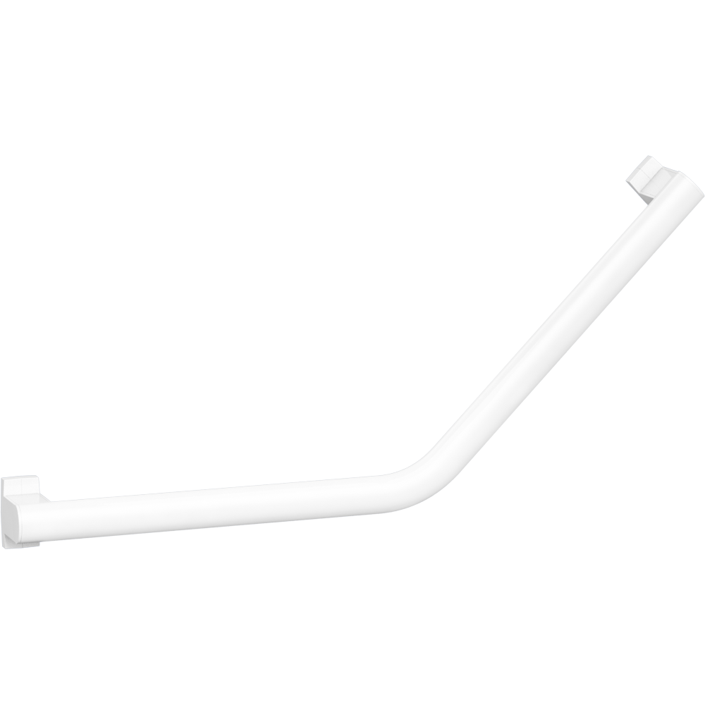 135° angled grab bar, 400 x 400 mm, White Epoxy-coated Aluminium