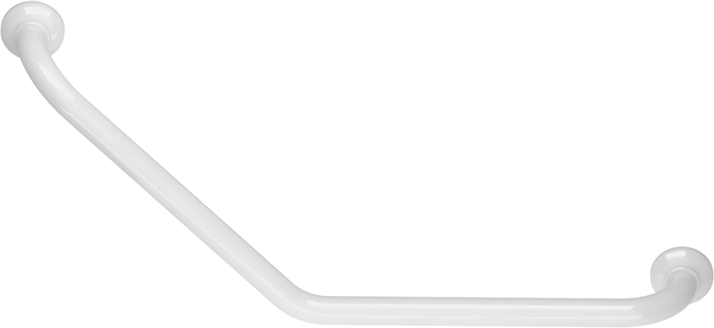 135° angled grab bar, 400 x 400 mm, White Epoxy-coated Aluminium , tube Ø 30 mm 1