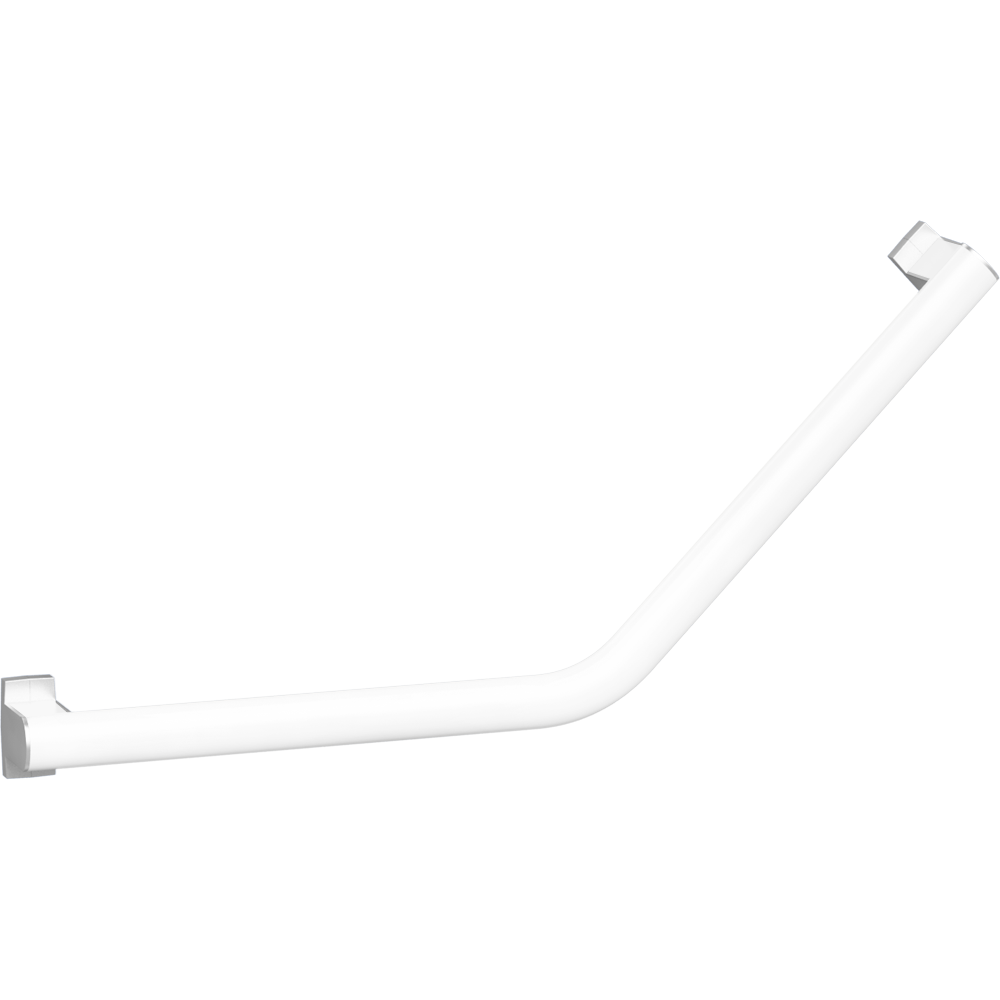 135° angled grab bar, 400 x 400 mm, White Epoxy-coated Aluminium, mat chrome-plated flanges
