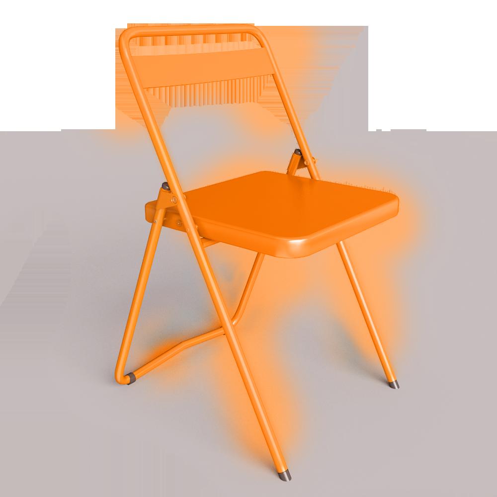 Chaise acier orange 1