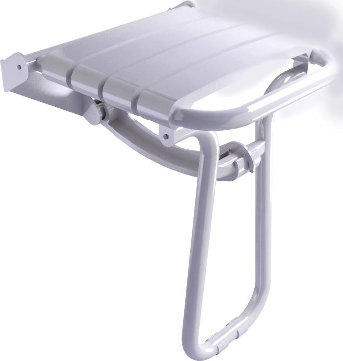 Foldaway shower seat, 380 x 355 x 500 mm, White polypropylene seat and white epoxy-coated base, tube Ø 25 mm, height 500 mm