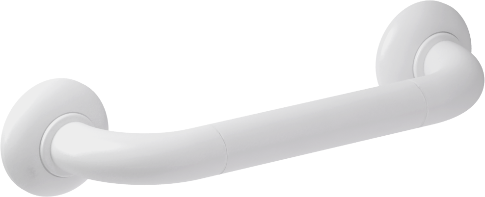 Straight grab bar, 300 mm, White Polyalu, tube Ø 33 mm