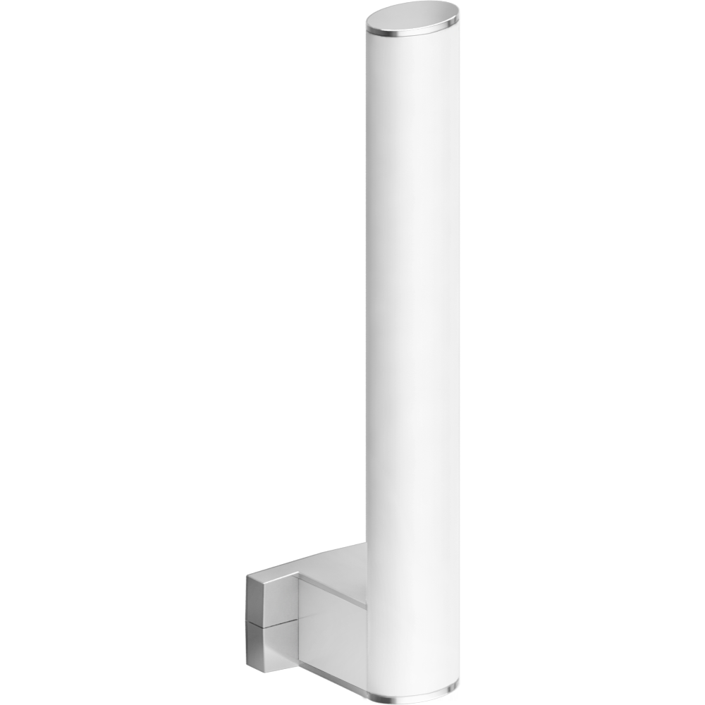 Toilet paper reserve, 265 x 69 x 67,5 mm, White epoxy-coated Aluminium, mat chrome-plated flanges, tube 38 x 25 mm