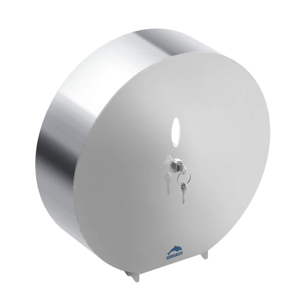 Toilet roll dispenser, Bright polished Stainless steel, Ø 311 mm