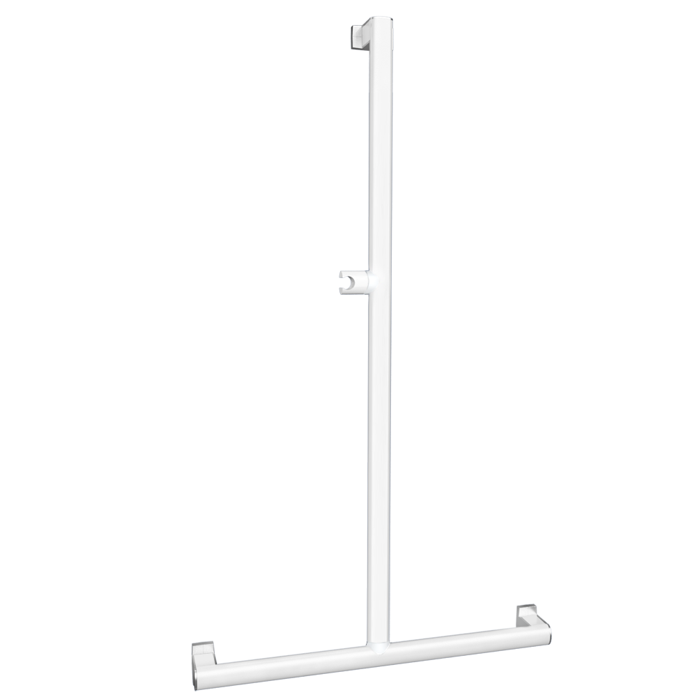 T-or L-shaped shower bar, White Epoxy-coated Aluminium, mat chrome-plated flanges