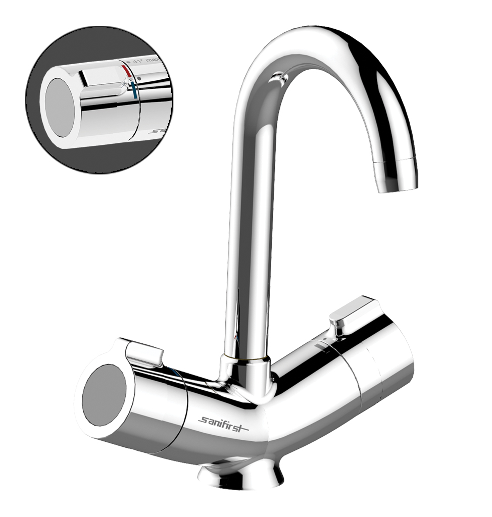 75712 Presto Sanifirst MASTERMIX thermostatic washbasin one hole mixer Deck mounted without drainage  3D View