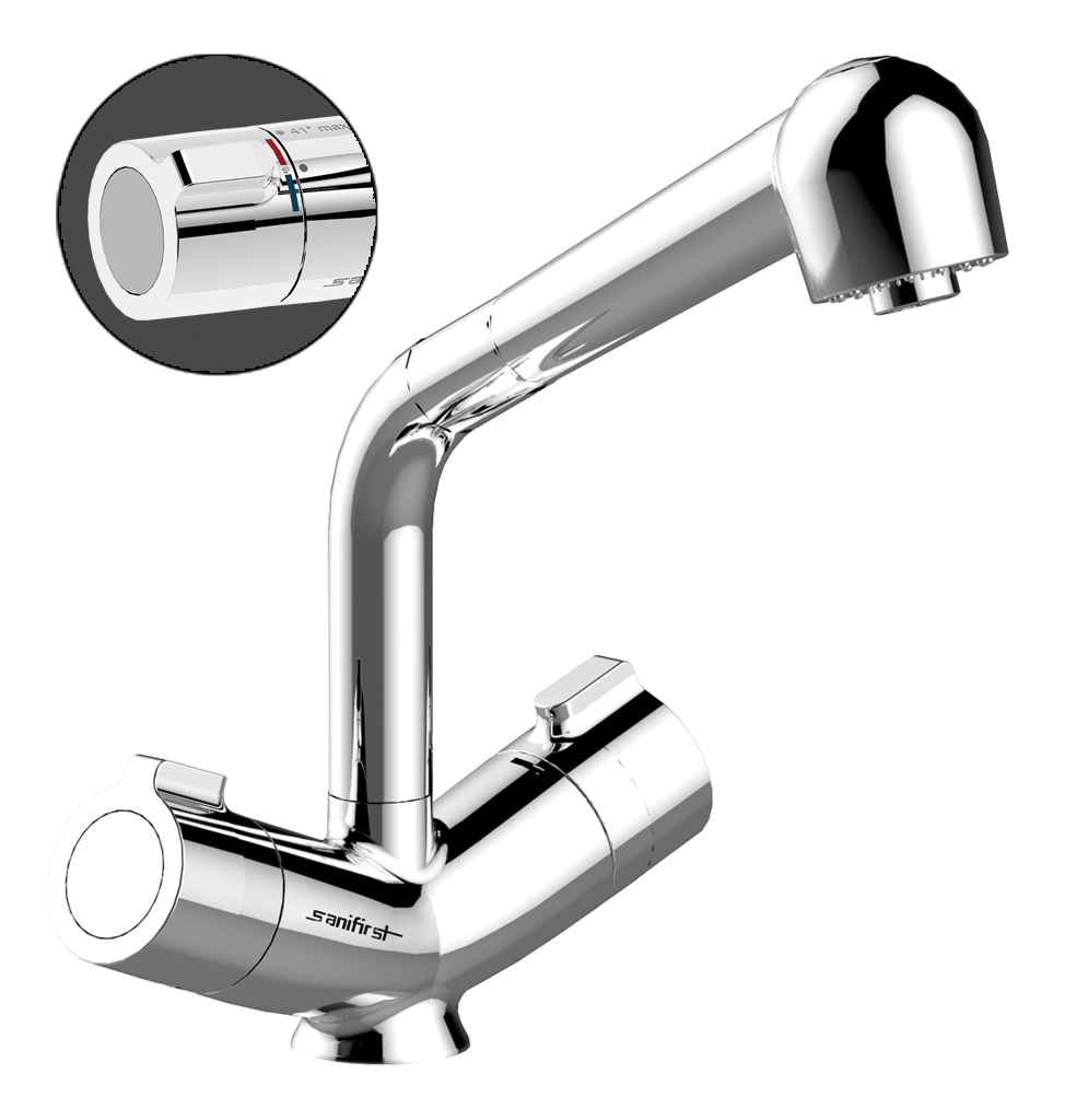 75714 MASTERMIX thermostatic mixer for sink and maternity wards - Deck-mounted with pull-out spray head