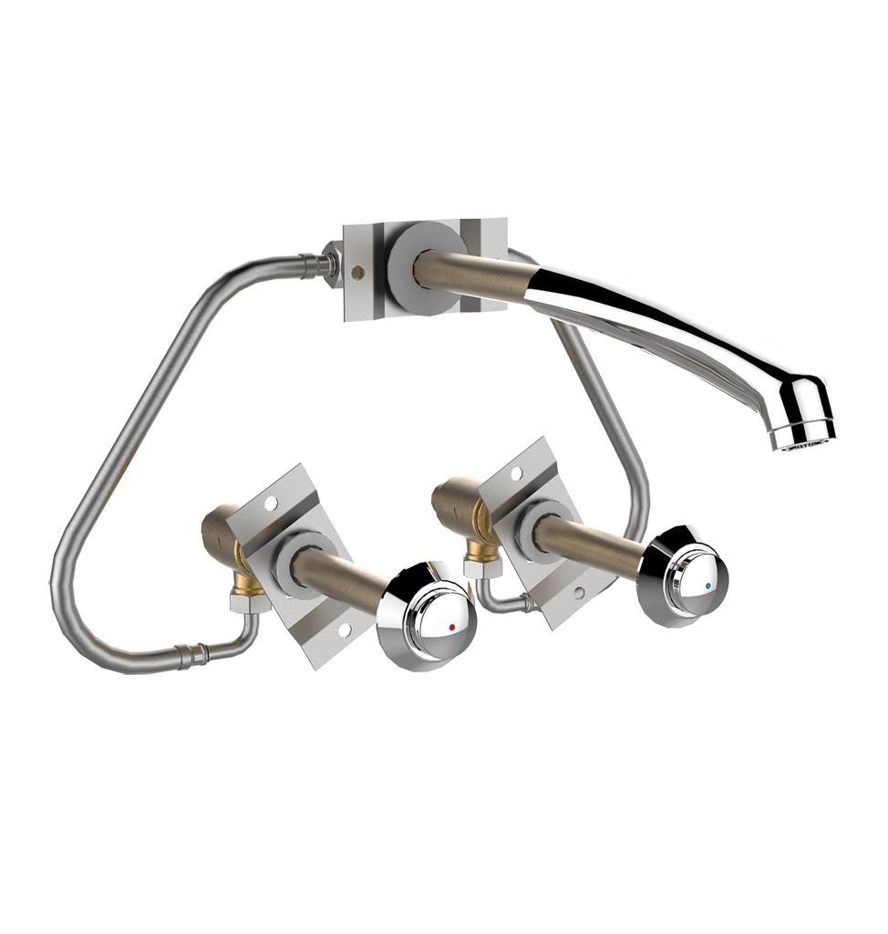 31504 - PRESTO kit lavabo EC-EF P512 S antivandalisme Traversée de cloison 120mm LVL0 - bec long