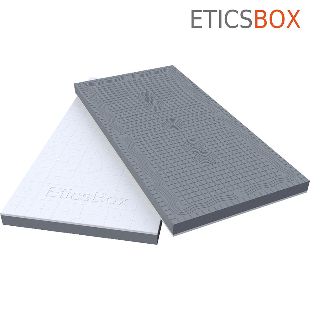 ETICSBOX Panneau d'isolation de facade en PSE bi matiere 1200x600  3D View