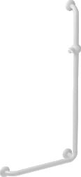 L-shaped shower bar, 664.5 x 1264.5 mm, White Polyalu, tube Ø 33 mm - 046280