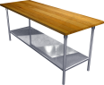 Stainless Steel Work table with Hardwood Top