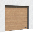industrial door golden oak veined wood normal and high lift
