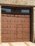 veined wood plain with wicket door villa
