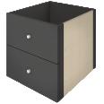 kallax block 2 drawers brown black