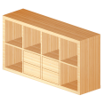 kallax shelf with 2 horizontal oak effect accessories