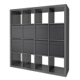 kallax shelf with 8 accessories brown black