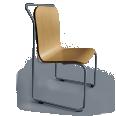 Chaise DS No 4 pietement acier anthracite RAL7016 coque chene naturel