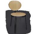 Chaise DS No6 Acier noir et Chene naturel
