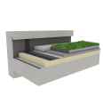 Green roof Canopia Jardibac insulation stormwater retention multi use Silver concrete