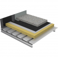 non-accessible insulated roof under ballasted gravels on steel deck