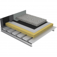 non-accessible insulated roof under ballasted gravels on steel deck - 1-layer waterproofing