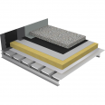 non-accessible insulated roof under ballasted gravels on plain steel deck - buildings with high hygrometry - 1-layer waterproofing