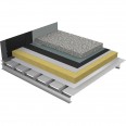 non-accessible insulated roof under ballasted gravels on plain steel deck - buildings with high hygrometry - silver waterproofing