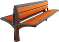 Double wooden bench