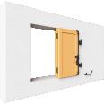 fenêtre bois deux vantaux repliables remplissage panneau lisse