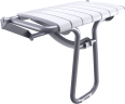 Foldaway shower seat, 360 x 580 x 500 mm, White polypropylene seat and grey epoxy-coated base, tube Ø 25 mm, height 500 mm