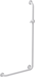 l-shaped shower bar, 664.5 x 1264.5 mm, white polyalu, tube ø 33 mm