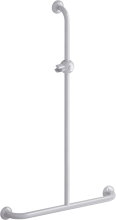 t-shaped shower bar, 600 x 1000 mm, white epoxy-coated aluminium , tube ø 30 mm