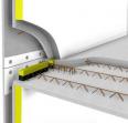prédalle à rupteurs de ponts thermiques et mur à coffrage intégré avec plaques d'isolant incorporéé