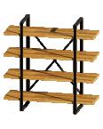étagère salon bois métal