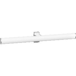 Double towel rail, 538 x 69 x 67,5 mm, White epoxy-coated Aluminium, mat chrome-plated flanges, tube 38 x 25 mm - 049912