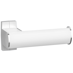 Toilet roll holder, 265 x 69 x 67,5 mm, White epoxy-coated Aluminium, mat chrome-plated flanges, tube 38 x 25 mm - 049913