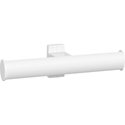 Toilet roll holder, 265 x 69 x 67,5 mm, White Epoxy-coated Aluminium , tube 38 x 25 mm - 049814