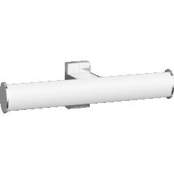 Toilet roll holder, 265 x 69 x 67,5 mm, White epoxy-coated Aluminium, mat chrome-plated flanges, tube 38 x 25 mm - 049914