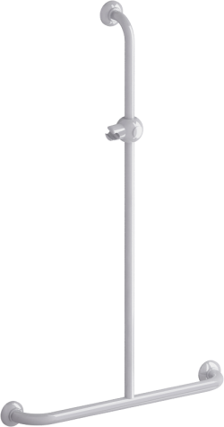 T-shaped shower bar, 600 x 1000 mm, White Epoxy-coated Aluminium , tube Ø 30 mm - 049340