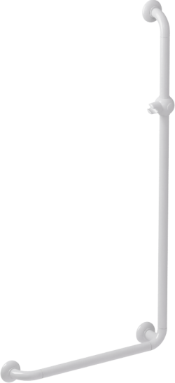 L-shaped shower bar, 664.5 x 1264.5 mm, White Polyalu, tube Ø 33 mm - 046280