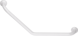 135° angled grab bar, 400 x 400 mm, White Epoxy-coated Aluminium , tube Ø 30 mm - 049230
