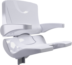 ERGOSOFT shower seat, 486 x 615 x 620 mm, White Polypropylene, with adjustable backrest and armrests - 047696