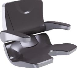 ERGOSOFT shower seat, 486 x 615 x 620 mm, White & Taupe Polypropylene, with backrest and armrests - 047690
