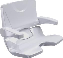 ERGOSOFT shower seat, 486 x 615 x 620 mm, White Polypropylene, with backrest and armrests - 047691