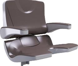 ERGOSOFT shower seat, 486 x 615 x 620 mm, White & Taupe Polypropylene, with adjustable backrest and armrests - 047695