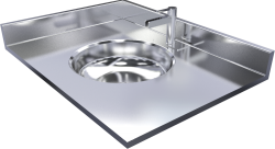 Stainless steel vanity top with integrally welded sink including tap