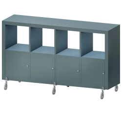 KALLAX Etagere 4 Doors Wheels Turquoise gray Shiny