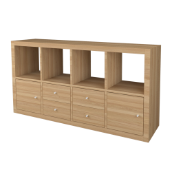 KALLAX Shelf with 4 Accessories Whitened Oak effect