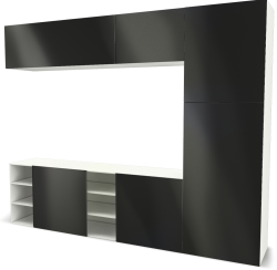 BESTA Storage Combination with Sliding Door Black